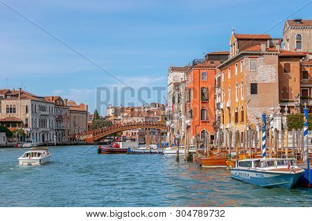Venice, Italy - March 27, 2019: Beautiful Vivid View Of The Grand Canal In Venice With Accademia Bri