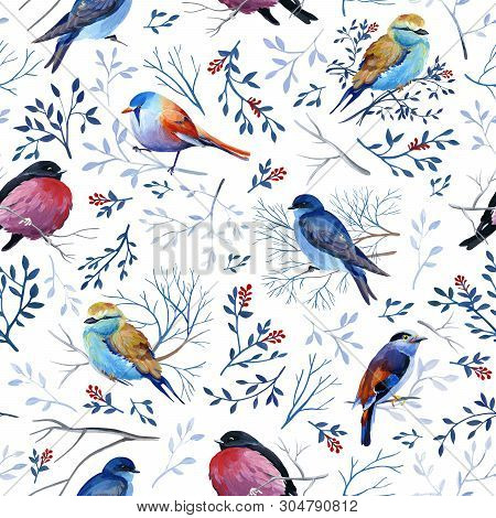 Gouahe Seamless Pattern With Bright Birds On Branches With Leaves For Art Work And Wedding Design
