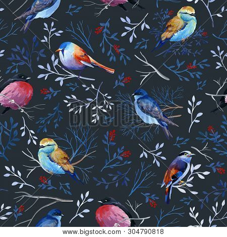 Gouahe Seamless Pattern With Bright Birds On Branches With Leaves On Dark Background For Art Work An