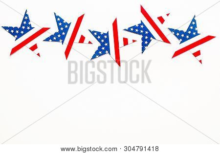 American Independence Day Background With Blue, White And Red Mixed Stars And Hearts. Celebration Of