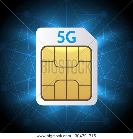 Sim Card 5g. Mobile Hotspot Network Cellphone Chip, 5g Gsm Cell Connection Simcard, Lte Internet Tec