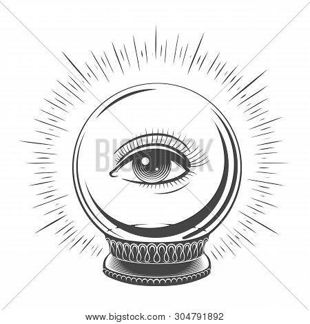 Crystal Ball With Eye. Spiritual Fate Woman Eye Tattooed Art, Fortune Teller Magic Ball Vector Desig