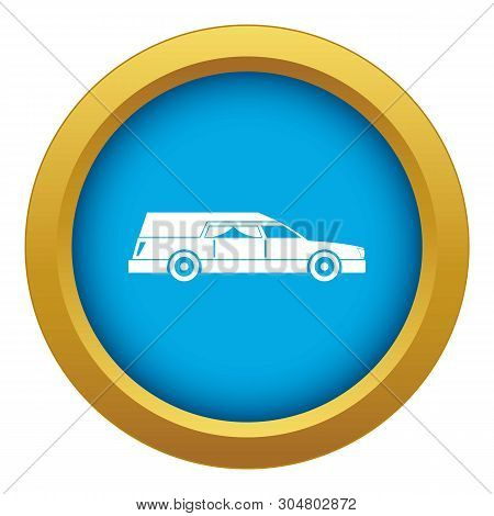 Hearse Icon Blue Vector Isolated On White Background For Any Design