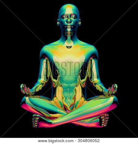 Yoga Man Lotus Pose Stylized Figure Gold Green Sparkling Glossy Colorful Reflection. Human Mental Gu
