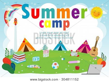 Kids Summer Camp Education Template For Advertising Brochure, Children Doing Activities On Camping,