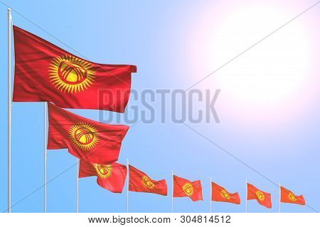 Pretty Many Kyrgyzstan Flags Placed Diagonal On Blue Sky With Place For Your Content - Any Feast Fla