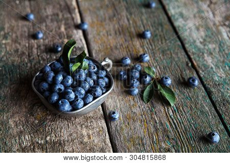 Blueberry On A Wooden Background In A Vintage Bowl, Berries, Food A
