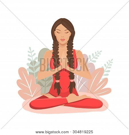 Cute Cartoon Girl In Yoga Lotus Practices Meditation. Practice Of Yoga. Vector Illustration. Young A
