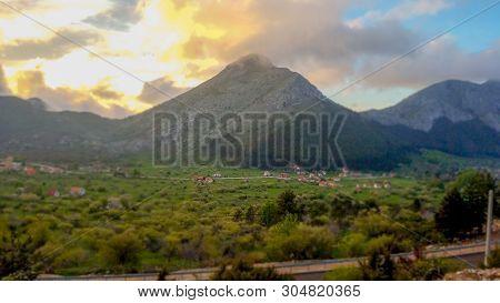 Beautyfull Mountain Road To Sunset. Road On Mountain Willage.