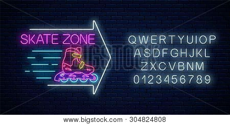 Skate Zone Glowing Neon Sign With Guide Arrow And Alphabet. Roller Skates Rental Symbol In Neon Styl