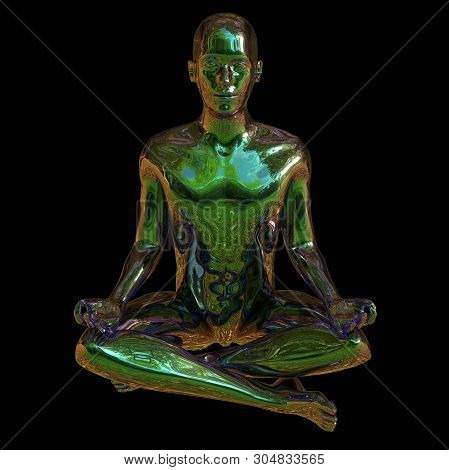 Lotus Pose Stylized Character Figure Black Polished Glossy. Human Mental Guru Concept. Man Peaceful