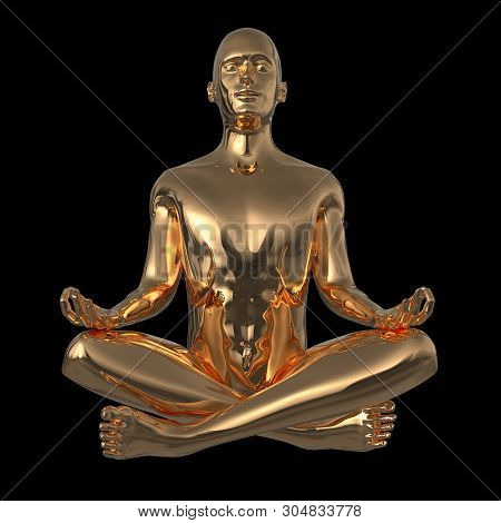 Meditate Man Yoga Lotus Pose Stylized Golden Character Figure Polished. Human Mental Recreation Guru