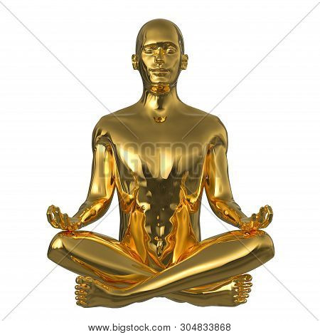 Golden Meditate Man Lotus Yoga Pose Stylized Character Figure Metallic Polished. Ideal Human Mental