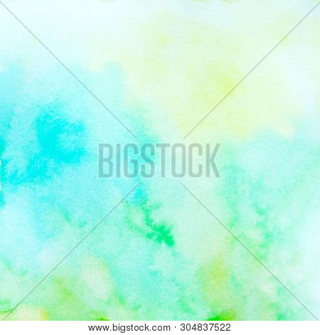 Watercolor Background, Art Abstract Blue, Yellow And Green Watercolor Painting Textured Design On Wh