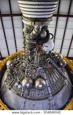 Houston, Tx - Apr 19: Saturn V Rocket At Space Center In Houston Texas On April 19 2019. Its A Scien
