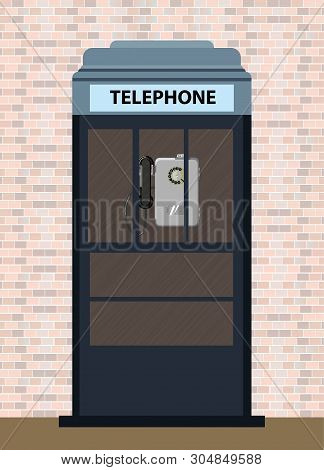 Gray Telephone Booth On A Brick Wall Background. Vector Illustration