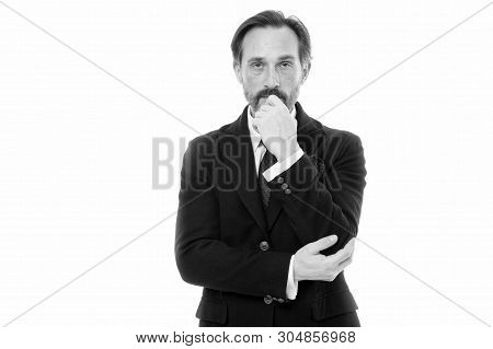 Man Handsome Mature Fashion Model Wear Fashionable Suit On White Background. Perfect Suit For Every