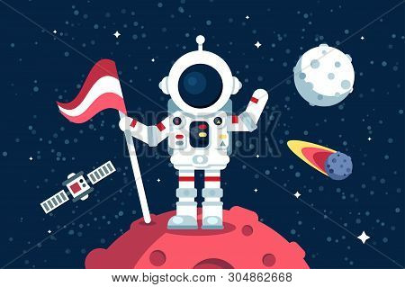 Astronaut In Space Suit Standing On Moon