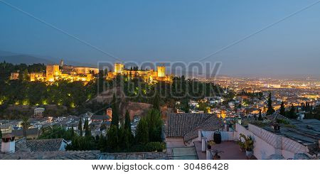 Alhambra In Granada From Albaicin At Dusk