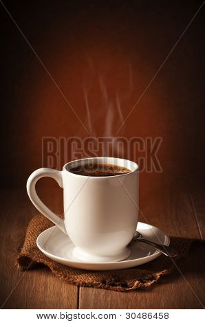 Freshly brewed coffee with steam
