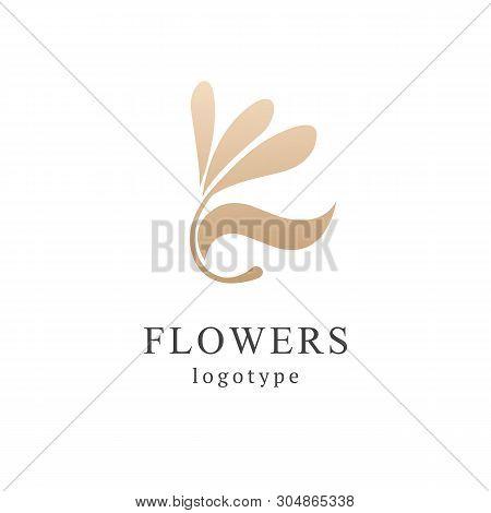 Campanula Logo. Wedding Floral Icon. Luxury Retro Emblem. Cosmetics, Spa, Beauty Salon, Decoration,