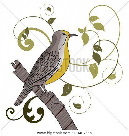 Meadowlark bird perched on stump flourish behind