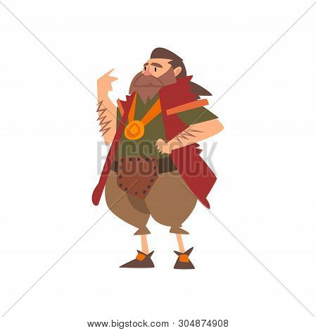 Barbarian Leader, Medieval Historical Cartoon Character In Traditional Costume Vector Illustration
