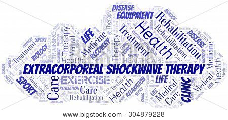Extracorporeal Shockwave Therapy Word Cloud. Wordcloud Made With Text Only.