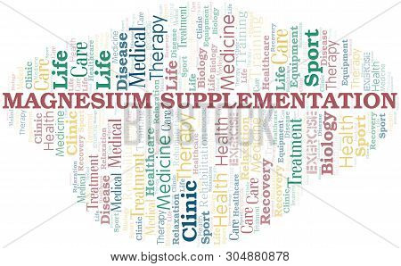 Magnesium Supplementation Word Cloud. Wordcloud Made With Text Only.