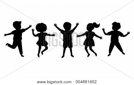 Black Silhouette Joyful Children Jump Together. Kids Playing. Happy Childhood Of Boys And Girls. Iso