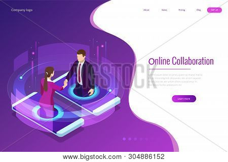 Isometric Business Handshake, Global Online Collaboration, Team Collaboration, Social Network, And H