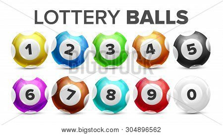 Balls With Numbers For Lottery Game Set Vector. Collection Glossy Colorful Spheres For Lotto, Kenny,