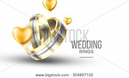 Wedding Golden With Platinum Rings Banner Vector. Special Symbolic Of Relationship Rings For Young N
