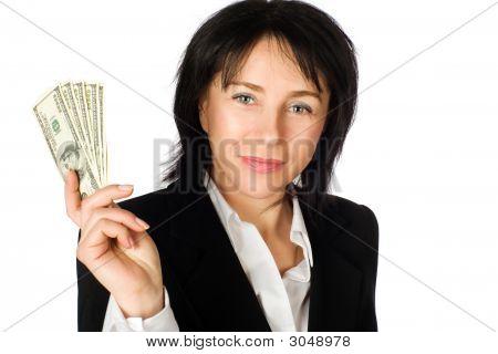 Woman With Money. Big Winner.