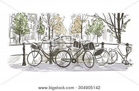 Amsterdam Bicycles Vector Illustration Sketch Watercolor Sketch