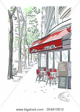 Paris Bistro Cafe Illustration Vector Sketch Red