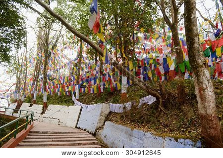 Colorful Buddhism Prayer Flags In Mahakal Temple On The Observatory Hill, Colorful Prayer Buddhist F