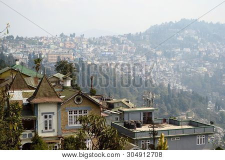 View Of Darjeeling City On The Hill. Old British Colonial Residential House. West Bengal, India.