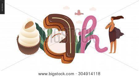 Dessert Lettering - Ah - Modern Flat Vector Concept Digital Illustration Of Temptation Font, Sweet L