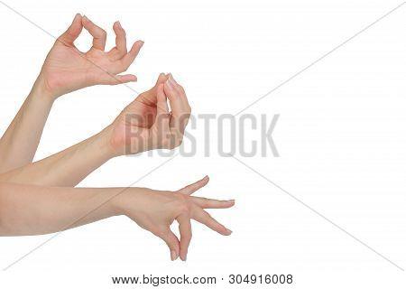 Woman Hand Showing Hamsasyo Hasta Hand Gesture, Also Called Mudra, Meaning Swan Beak , Mukula Hasta