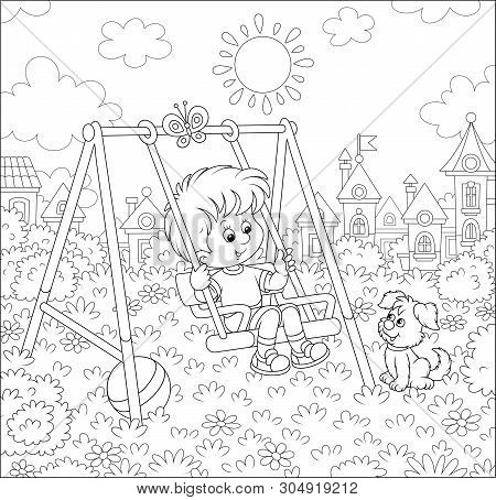 Smiling Little Boy On A Toy Swing On A Playground In A Park Of A Town On A Sunny Summer Day, Vector