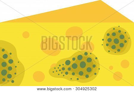 A Spoiled Piece Of Mouldy Cheese . Flat On A White Background.