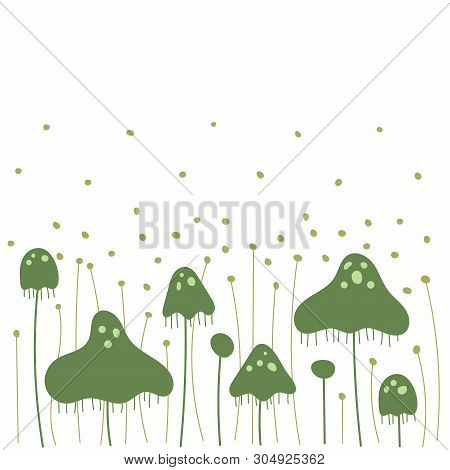 Fungi, Bacteria And Mold Spores. Flat On White Background