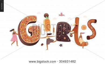 Dessert Lettering - Girls - Modern Flat Vector Concept Digital Illustration Of Temptation Font, Swee