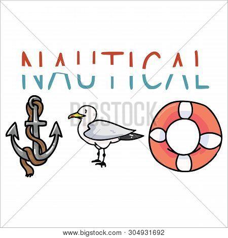 Cute Nautical Typography Cartoon Vector Illustration Motif Set. Hand Drawn Isolated Ocean Wildlife E