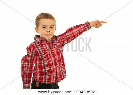 Happy Kid Boy Pointing Away