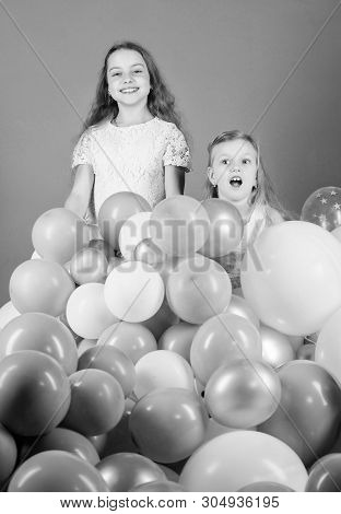 Just Live It Out To The Fullest And Have Fun. Happy Sisters Enjoy Birthday Celebration. Little Girls