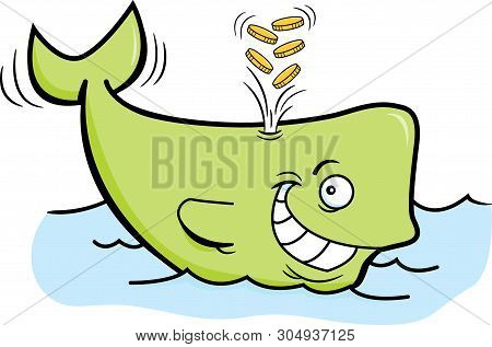 Cartoon Illustration Of A Whale Spouting Gold Coins.