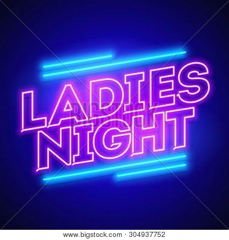 Vector Illustration Ladies Night Neon Glow Banner