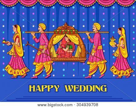 Vector Design Of Indian Woman Bride In Wedding Ceremony Of India